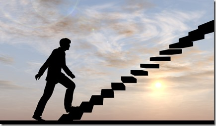 Concept conceptual 3D male businessman on stair or steps over sunset sky background, metaphor to suc